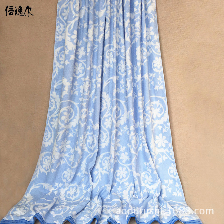 Cotton Airable Cover Export Europe Yarn-dyed Jacquard Double-Sided Looped Pile Single Double Bare Sleeping Pure Cotton Towel Bla
