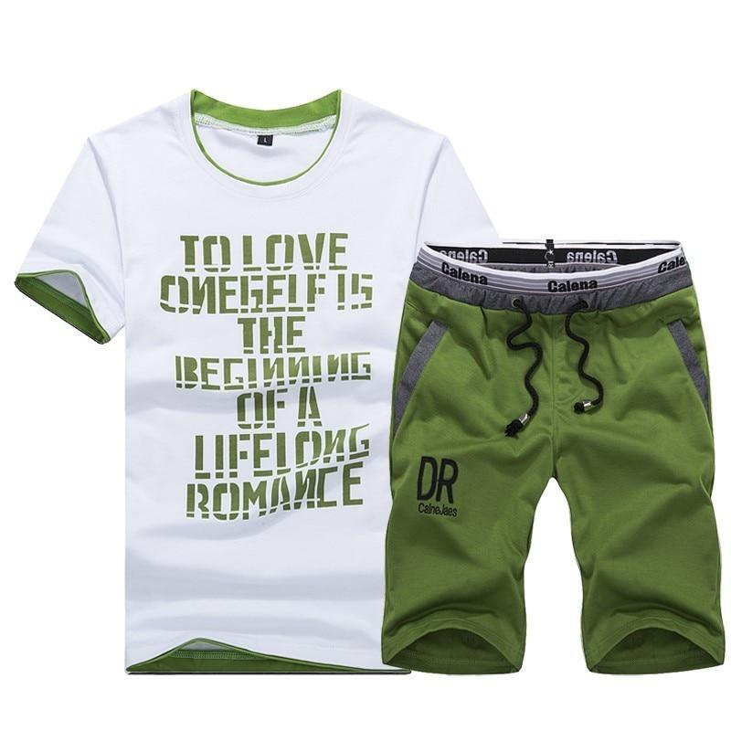 Summer Sports Short Sleeve T-shirt Suit Men Running Sports Leisure Suit Short Shorts Two-Piece Set Fashion