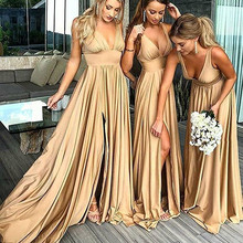 Bridesmaid Dresses Long V Neck Backless Split Prom Gowns for