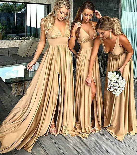 Bridesmaid Dresses Long V Neck Backless Split Prom Gowns for Women