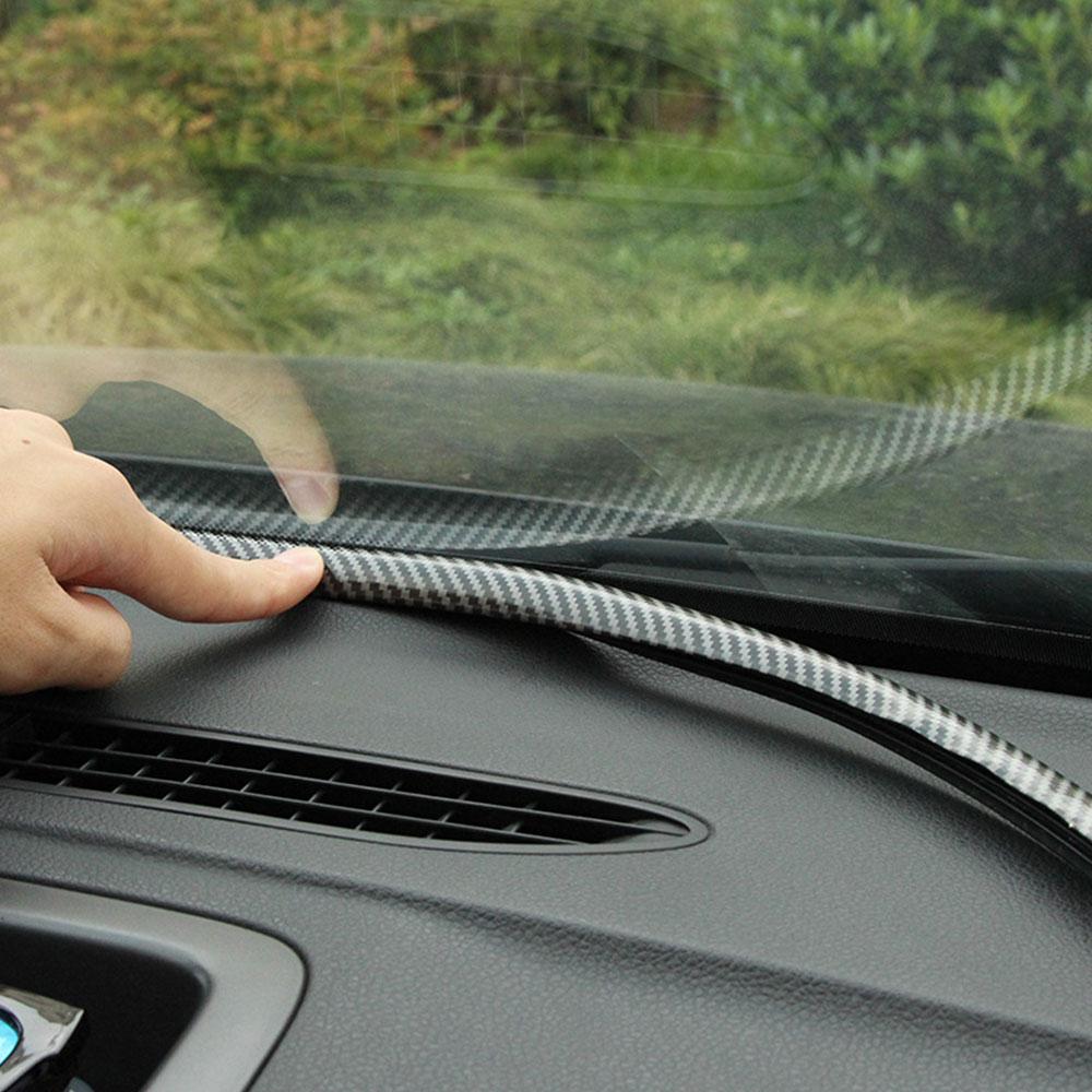 Car Dashboard Sealing Strip Sticker Flexible Carbon Fiber Rubber Seals Insulation Car Window Seal Universal Interior Accessories