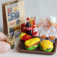 Mini 1/6 In Miniatura Casa Delle Bambole Hamburger Coca Cola Tazza di Fast Food per Blyth Barbie Doll Casa di Gioco Cucina Ice Cream Accessori Giocattolo(China)