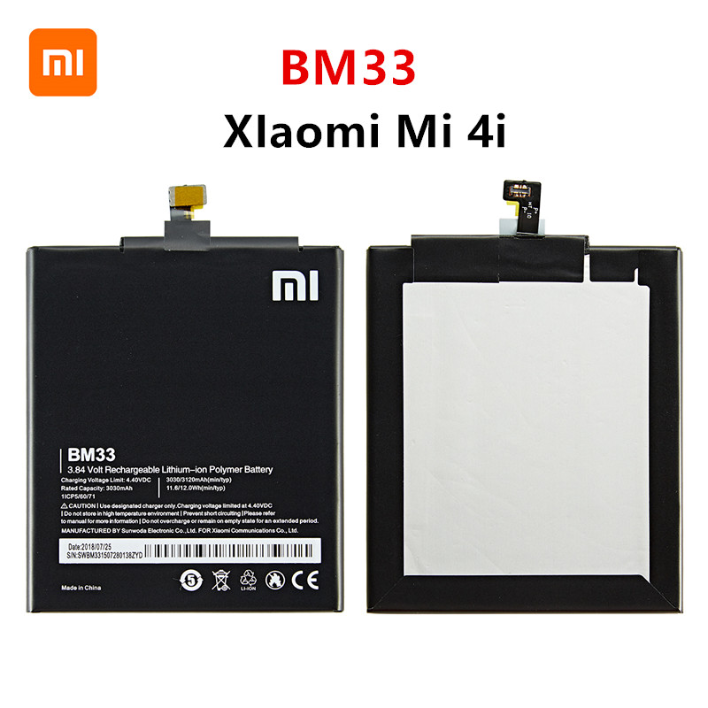 Xiao <font><b>mi</b></font> 100% Orginal BM33 3120mAh <font><b>Battery</b></font> For Xiaomi <font><b>4i</b></font> <font><b>Mi</b></font> <font><b>4i</b></font> Mi4i M4i BM33 High Quality Phone Replacement <font><b>Batteries</b></font> image