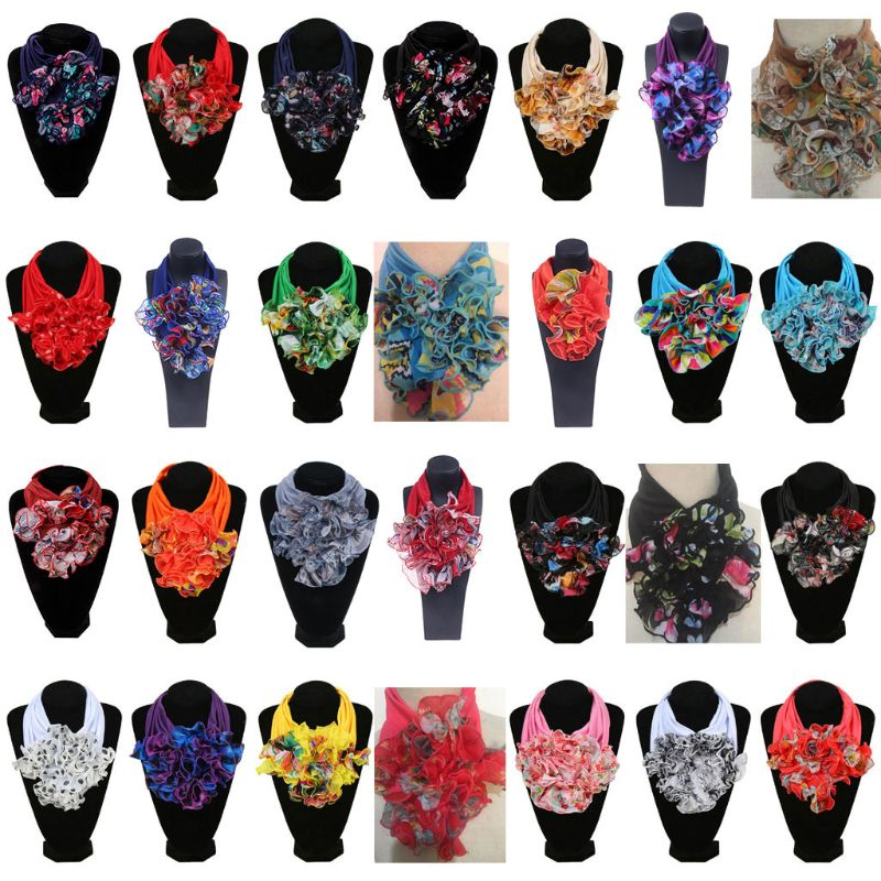 Womens Floral Collar Scarf Luxury Flower Printed Neckerchief Ring Neck Scarves C6UD