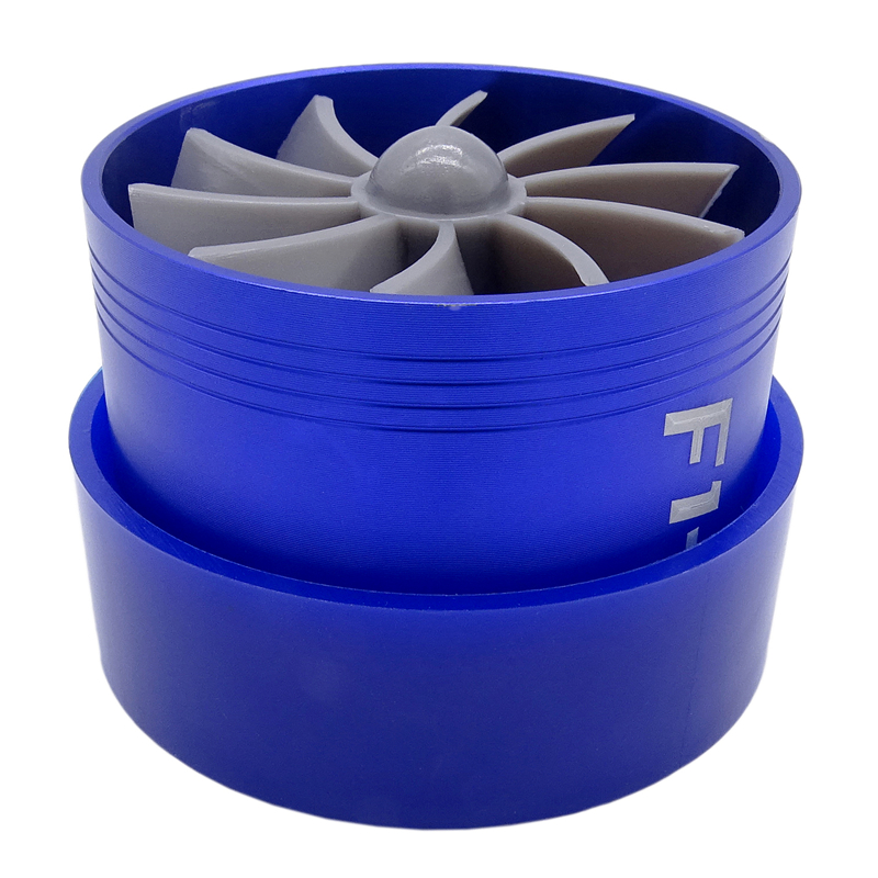 F1-Z Universale Supercharger Turbo Turbonator Air Fuel Gas Saver Economico Fan Trasporto di Goccia in Lega di Alluminio Blu