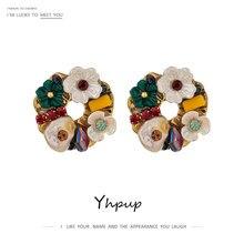 Yhpup Trendy wykwintne zielony kwiat okrągły wkręt kolczyki luksusowe Rhinestone świąteczne prezenty kobiety modna biżuteria na prezent 2021