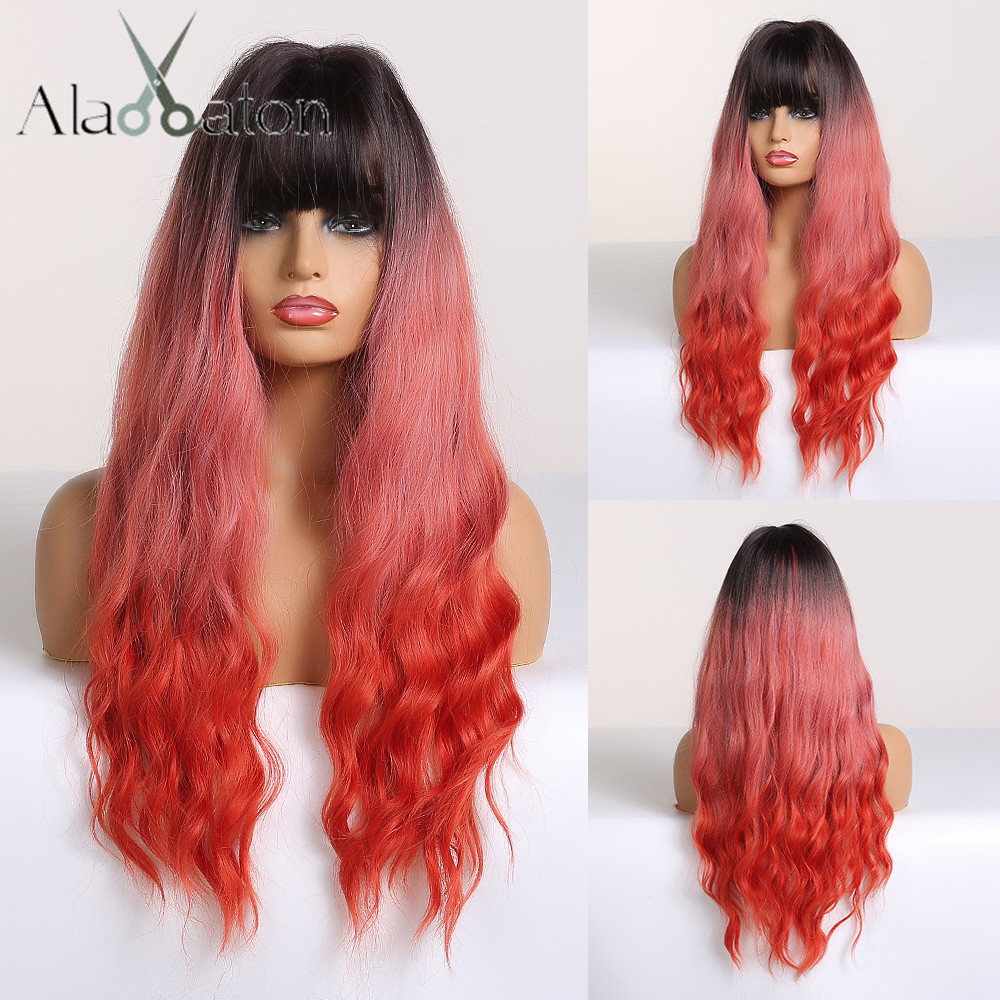 ALAN EATON Cosplay Long Wavy Hair Wigs Heat Resistant Synthetic Wigs for Women Natural Fake Hair with Bangs Black Red Ombre WigsSynthetic None-Lace  Wigs   -