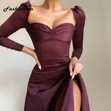 Fashionsta muhteşem katı Midi elbise seksi parti kulübü Bodycon straplez yüksek yarık elbiseler kadın İlkbahar sonbahar rahat Vestidos