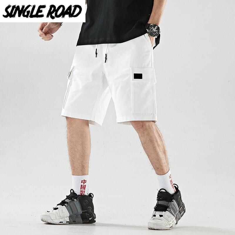 SingleRoad Mens Shorts Men Hip Hop Japanese Streetwear Side Pockets Shorts Male Casual Cotton Knee Length Joggers Shorts For Men