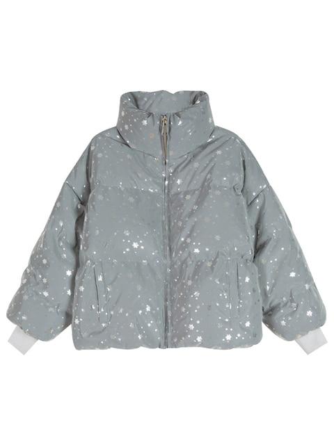 snowflake Winter warm overcoat long reflective jacket luminous casual coat thick streetwear loose glowing parka padded outwear