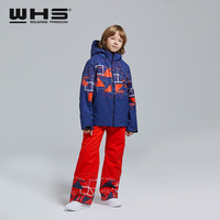 WHS NEW Boys ski suit kid snow jacket & pant waterproof coats pants teenage windproof clothing warm trousers