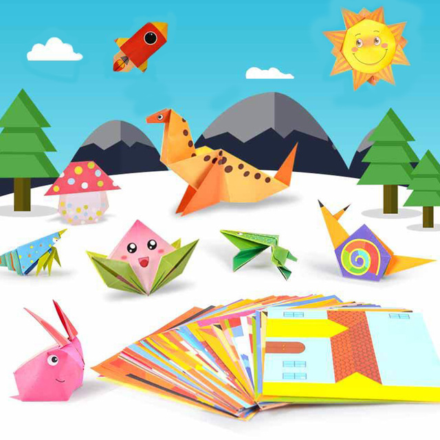 54pcs/set Origami Paper 3D Cartoon Animal Pattern Toy Kid Handmade DIY Color Papers Scrapbooking Craft Decoration Education Toys 3