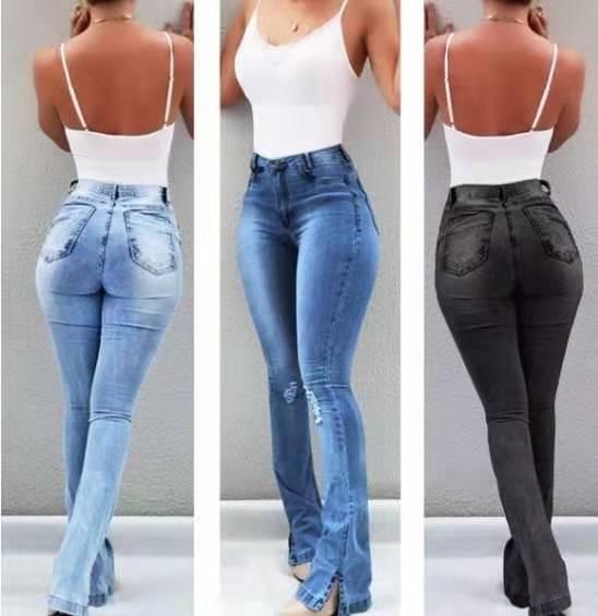 Women's Jeans Sexy Hollow Bell Trousers High Waisted Split Hem Streetwear Fashionnova Woman Full Length Distressed Jeans