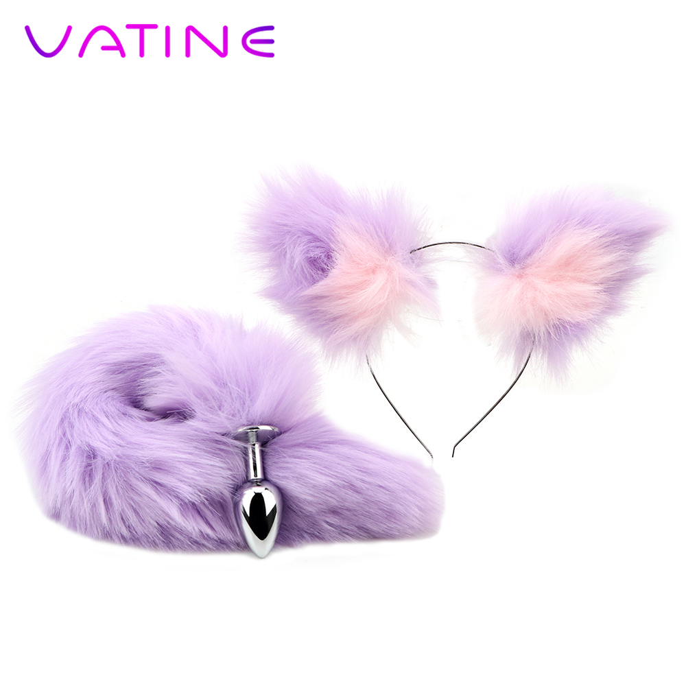 VATINE Smooth Touch Anal Plug Soft Fox Tail Metal Butt Plug With <font><b>Cat</b></font> Ears Headbands <font><b>Sex</b></font> <font><b>Toys</b></font> For Women Men Couples image
