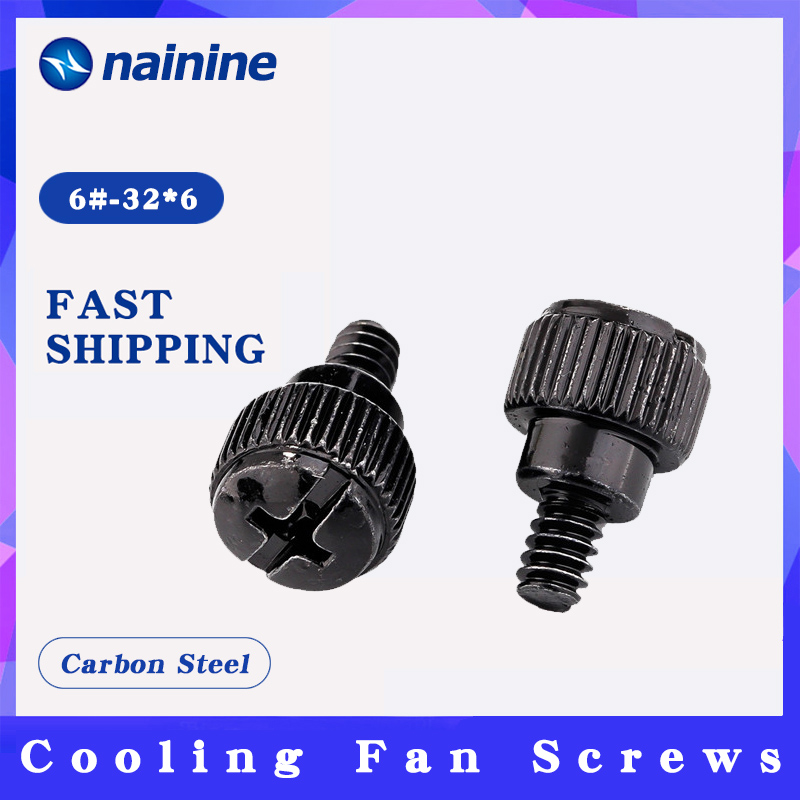 10Pcs 6#-32*6 Thread Teeth Computer PC Case Cooling Fan Toolless Adjustment Screw Thumbscrews Thumb Screw M3.5 HW110(China)