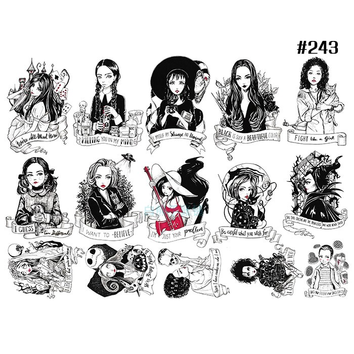A4 1pcs\set Gothic Girl Retro Loli Black And White Beauty Cartoon Character Sulfuric Acid DIY Stationery Decoration Stickers