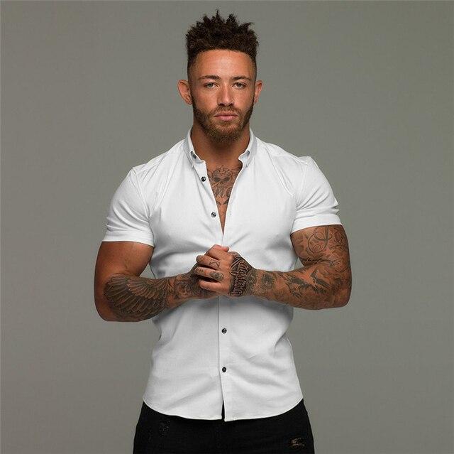 2021 Men's Summer Fashion Casual Shirts Man Solid Short Sleeve Men Cardigan Shirt Mens Tops Undershirt 3