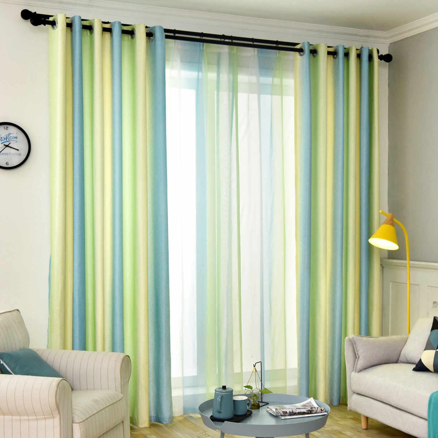 Простые современные шторы для гостиной тени имитация льна Curtins для спальни в скандинавском стиле градиентные полосатые шторы ткань