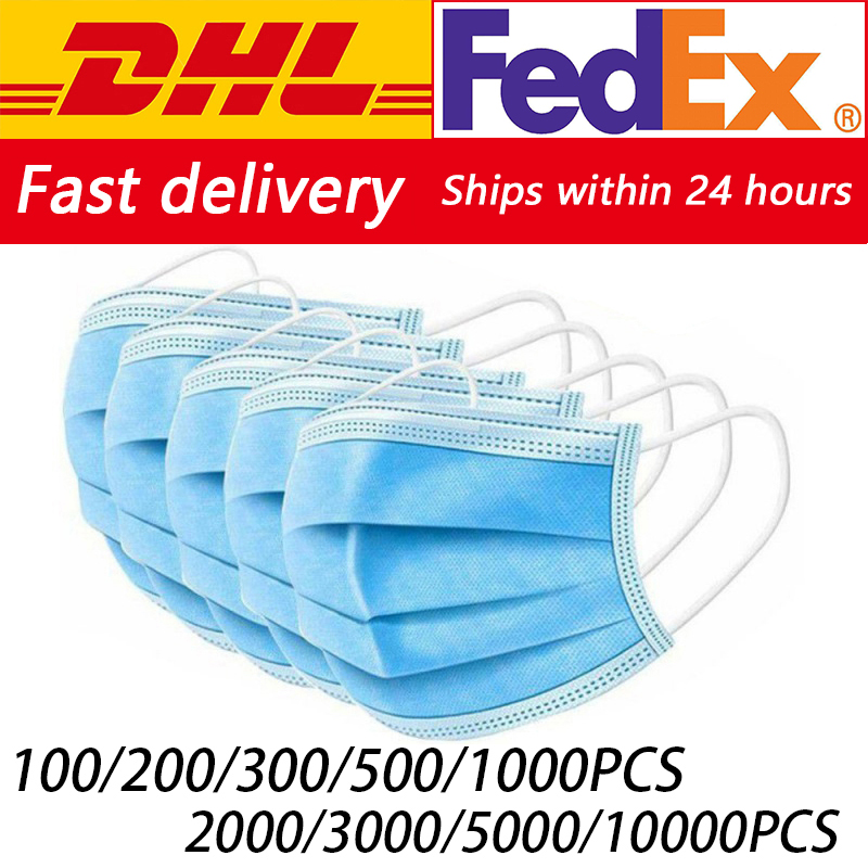 DHL Fedex 100/200/500/1000/2000/5000/10000pcs Disposable Face Mouth Mask Nonwoven Masks Anti PM2.5 Hygiene Safe Mouth Face Mask