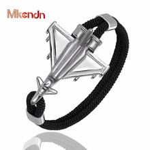 MKENDN Military Combat  Airplane Anchor Bracelets Men Charm Rope Chain Paracord Bracelet Women Air force style Fashion Bangles