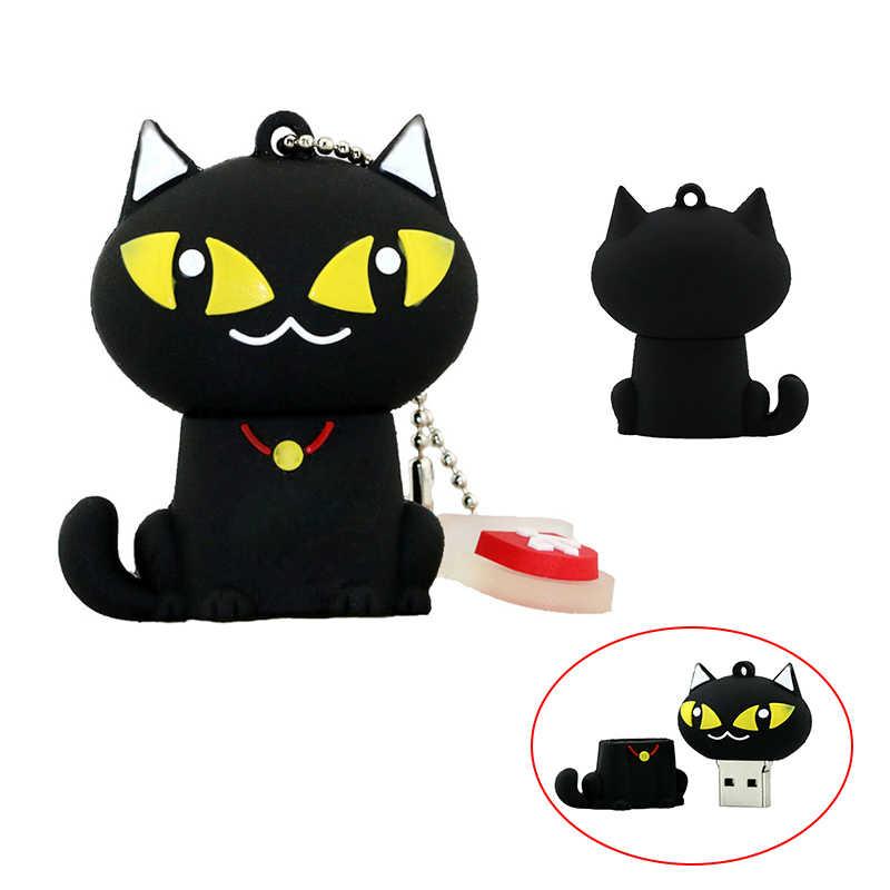 עט קריקטורה נהג שחור חתול Pendrive 8gb 16gb 32gb 4 64 128 256 gb Cle USB דיסק און קי דיסק קריקטורה בעלי החיים U דיסק מיני מתנה