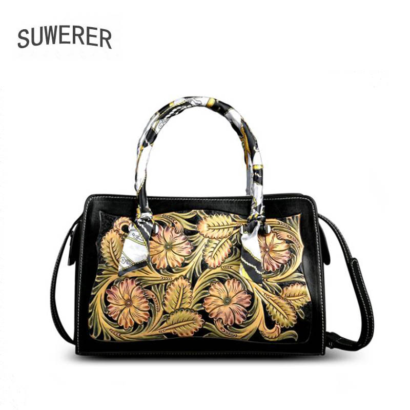 Image 2 - SUWERER 2020 New Women Genuine Leather bag Luxury handbags women famous brand leather bag  Hand carved tote bagsTop-Handle Bags   -