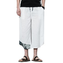 Harem Pants Male Bermuda Casual Board Short Pants Men Harajuku Harem Pants Mens Summer Cotton Linen Joggers Pants Male Vintage cheap Midweight 4013-M93 Full Length Chinese Style REGULAR Broadcloth PATTERN Drawstring Calf-Length Pants Flat embroidery no bounce