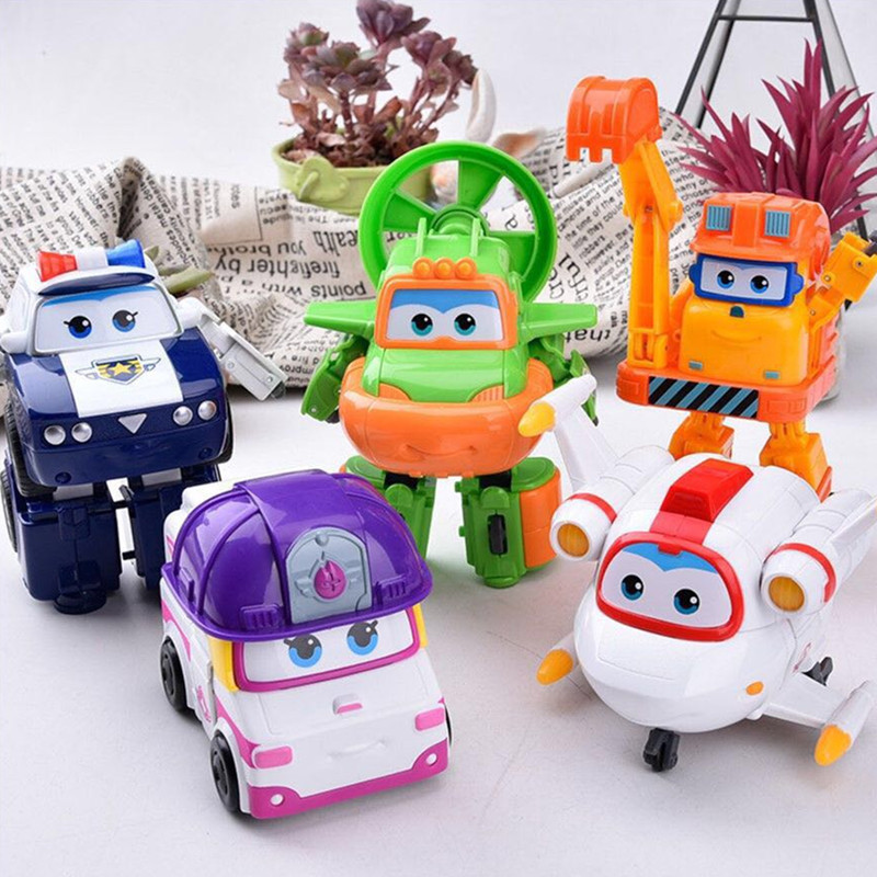 5pcs/set Super Wings Mini Planes Toys Deformation Airplane Robots Action Figures Toy Doll Игрушка