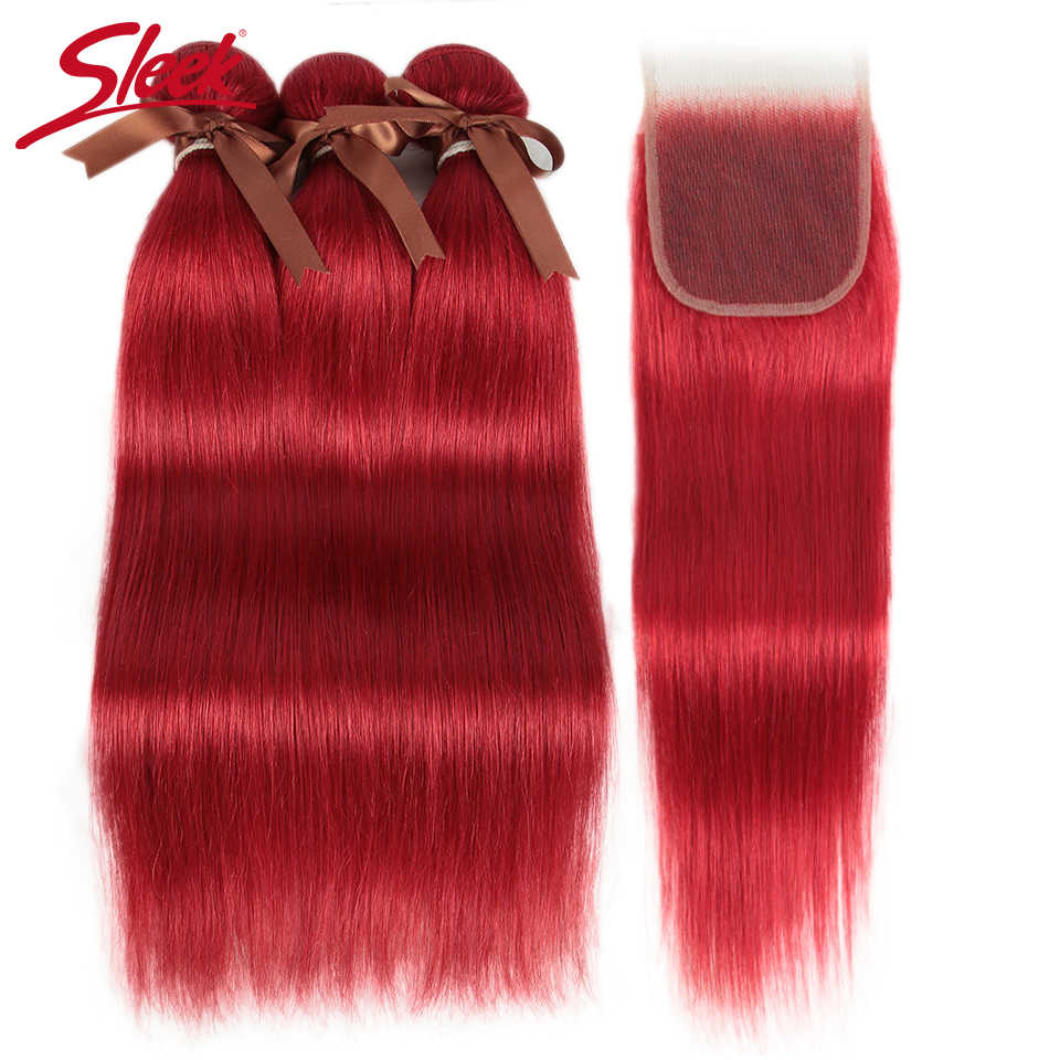 Sleek Red Color Straight Bundles With Closure Brazilian Hair Bundles With Closure 8-28 Remy Human Hair 3/4 Bundles With Closure