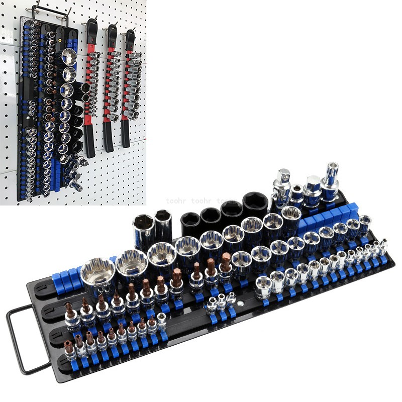 Industrial Socket Wrench Storage Rack Iron Rail Rack Holder Drive Tool Organizer Sliding 1/4