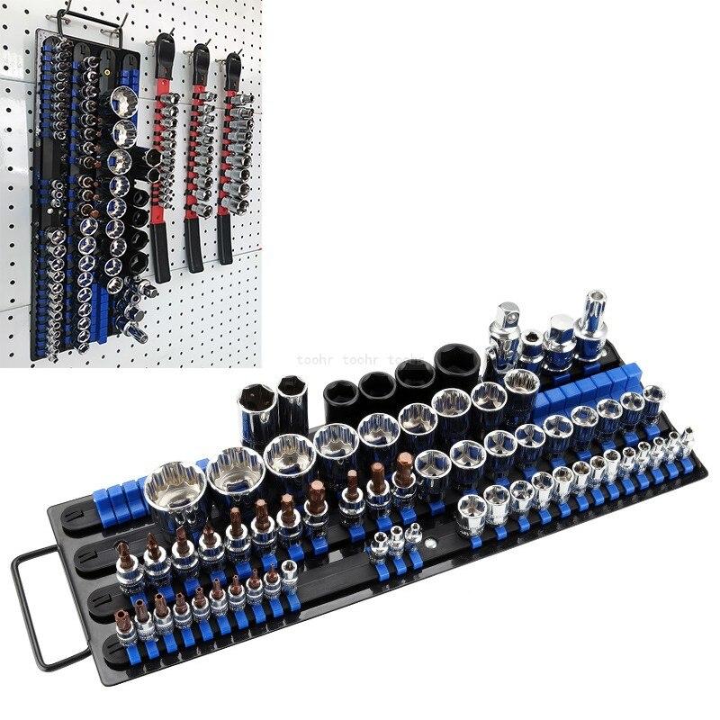 Llave de enchufe Industrial estante de almacenamiento de riel de hierro soporte de herramienta de accionamiento organizador deslizante 1/4