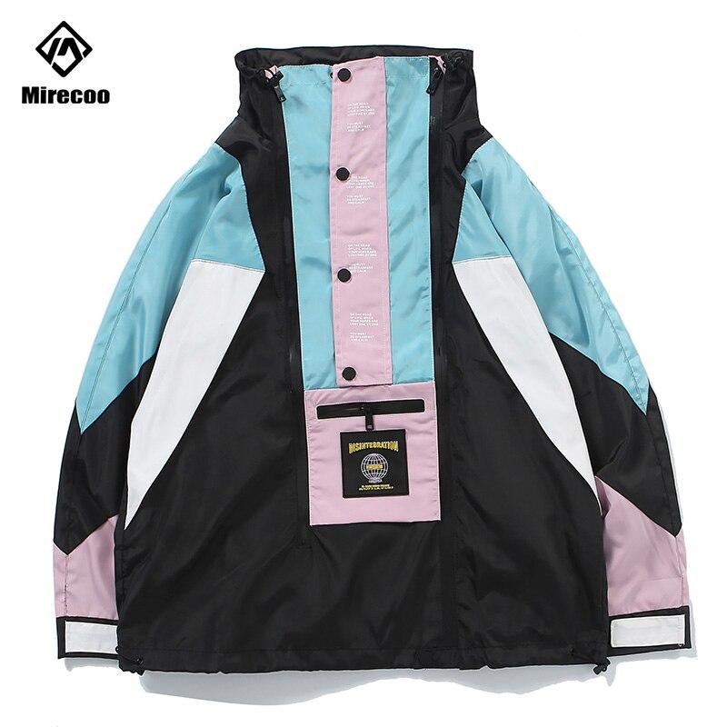 Mirecoo Jacket Men Block Patchwork Mens Jacket Hip Hop Windbreaker Men Coaches Jacket Advanced Fashion Coat Streetwear 2019