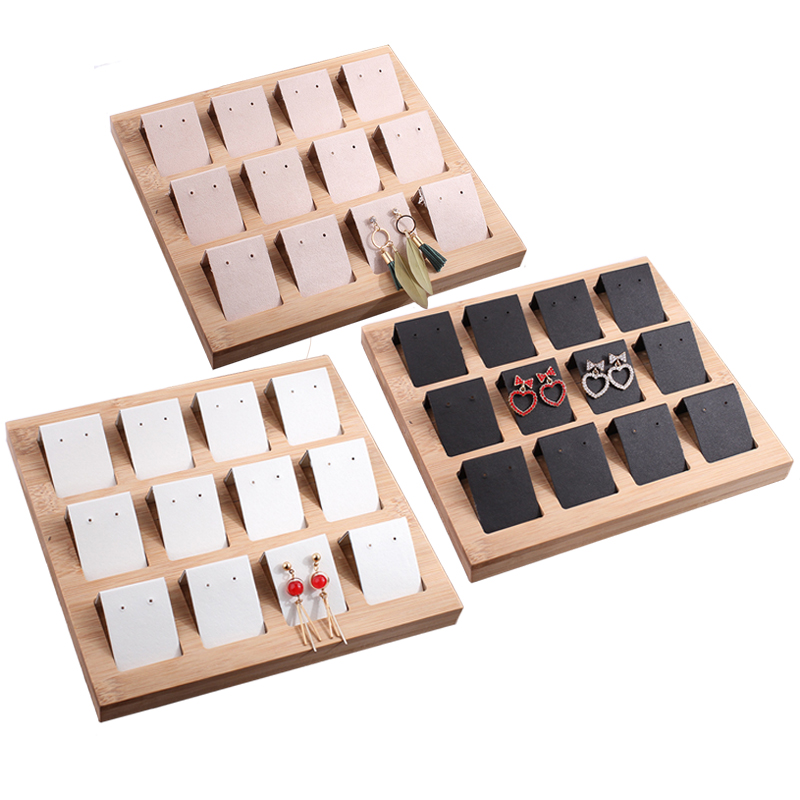 Bamboo Velvet 12 Grid Activity Earrings Eardrop Display Stand Earrings Organizer Jewelry Rack Jewelry Display Stand