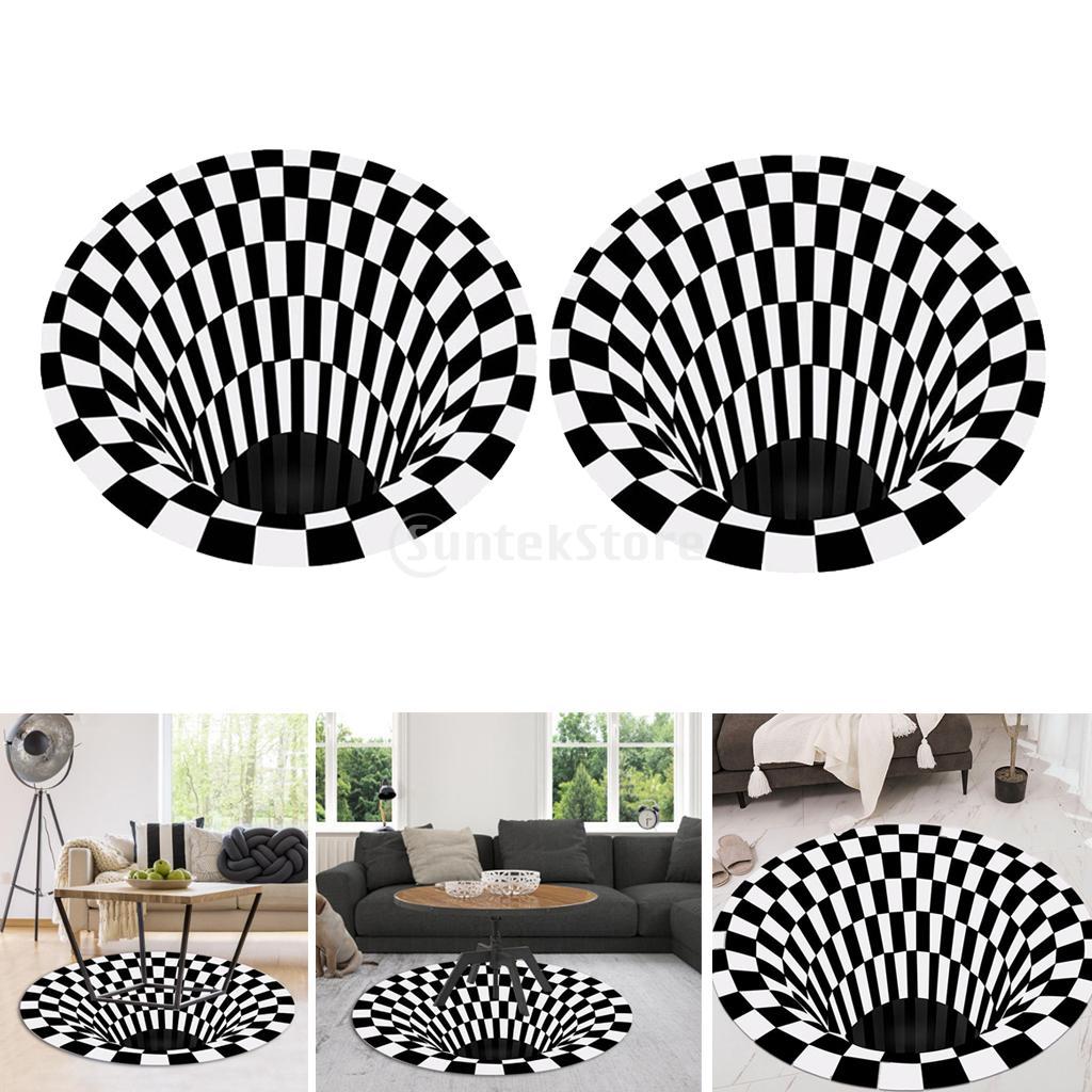 2 шт 120 см черный белый сетчатый коврик 3d иллюзия для дома