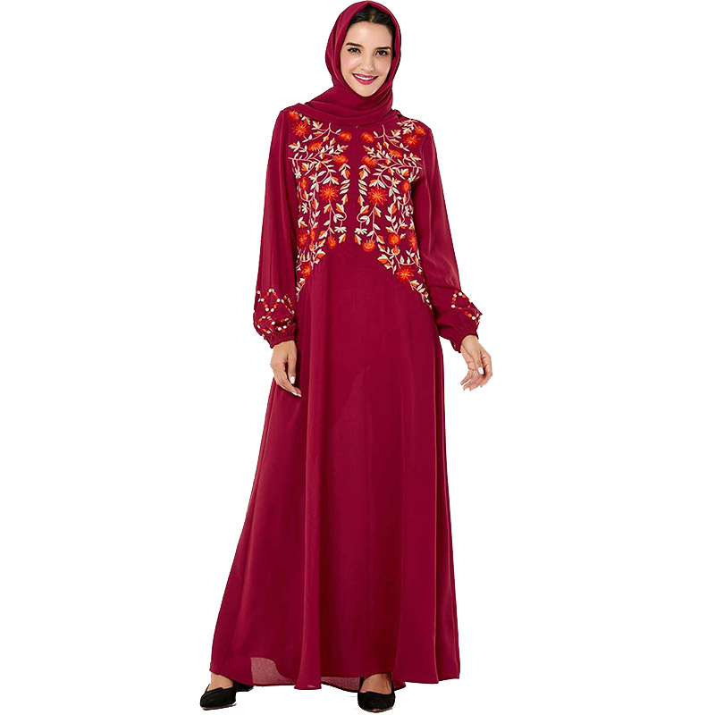 Middle Eastern Fashion Embroidered Casual Long-sleeved Dress Muslim Arab Robes Ramadan Dark Red Mosque Afghan Prayer Dress