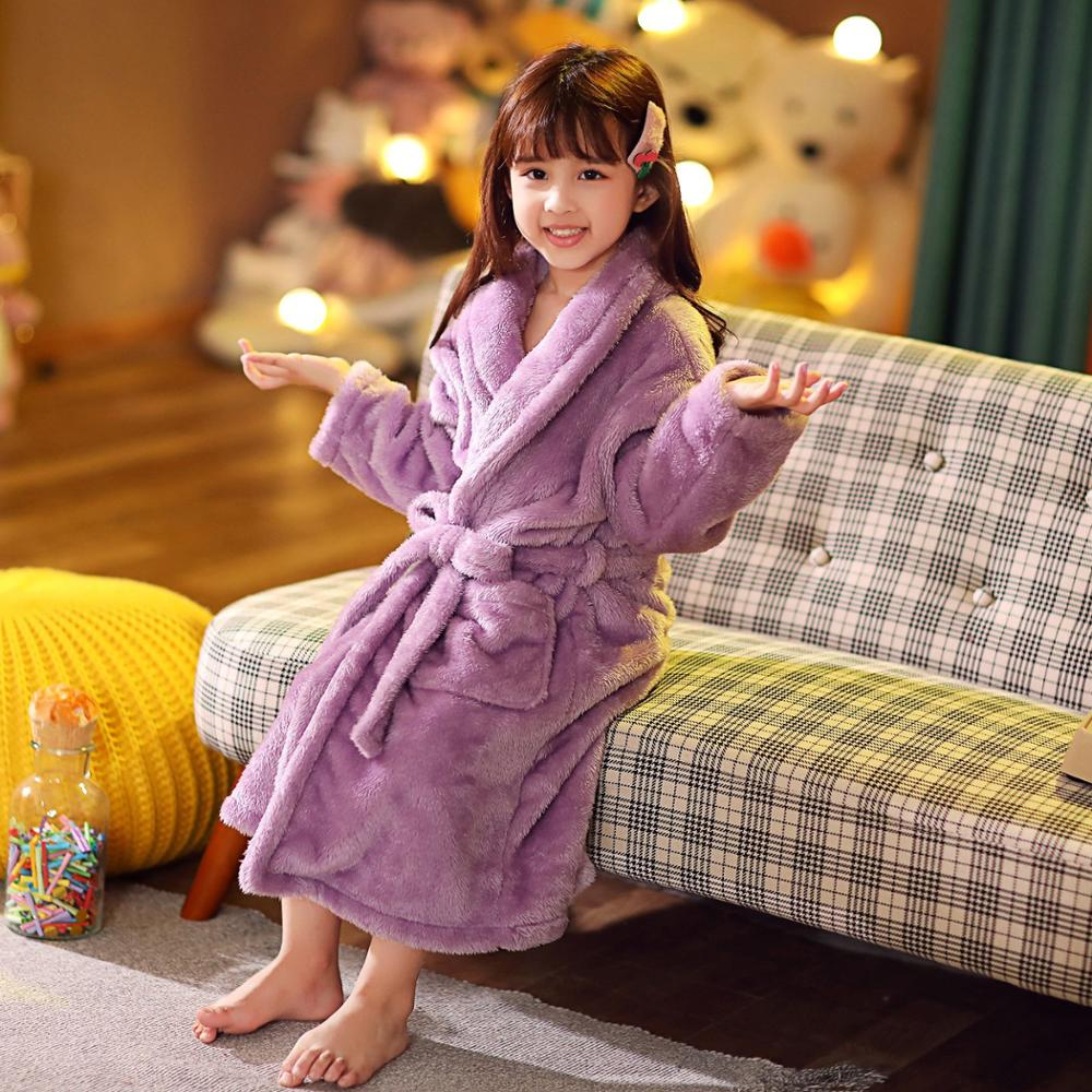 2021 new delivery children clothes winter boy girl pajama Flannel robe baby Bathrobe home clothes 3-12year 3