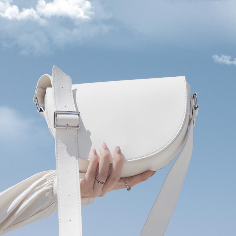 Solid Color Saddle Bag 2020 Fashion New High Quality PU Leather Women's Designer Handbag Casual Flip Shoulder Messenger Bag