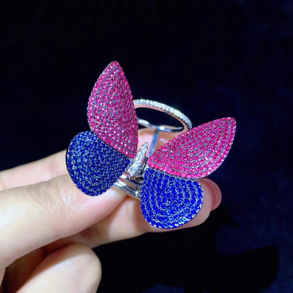 Schmetterling ring 925 sterling silber mit cubic zirkon insekt ring mode frauen schmuck cocktail ring freies verschiffen - 6