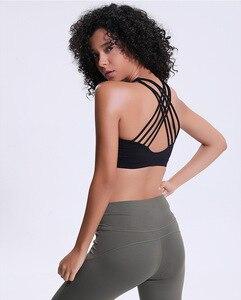 Image 3 - נשים חזיית כושר Jogger רך עירום להרגיש בגדי תרגיל אנטי זיעה עמיד הלם לדחוף את צלב אופנה פעיל חזיות