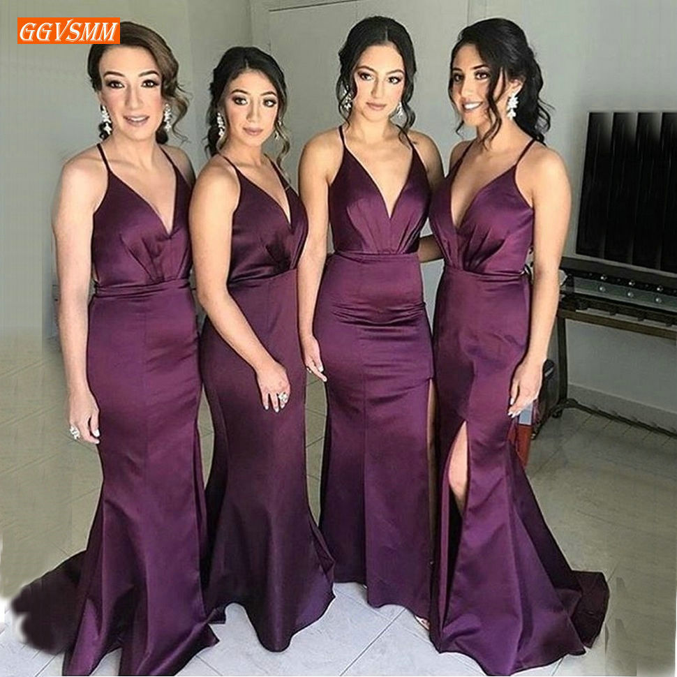Elegant Purple Mermaid Bridesmaid Dresses V Neck Guest Wedding Party Maid of Honor Dress Spaghetti Strap Long Bridesmaids Gowns