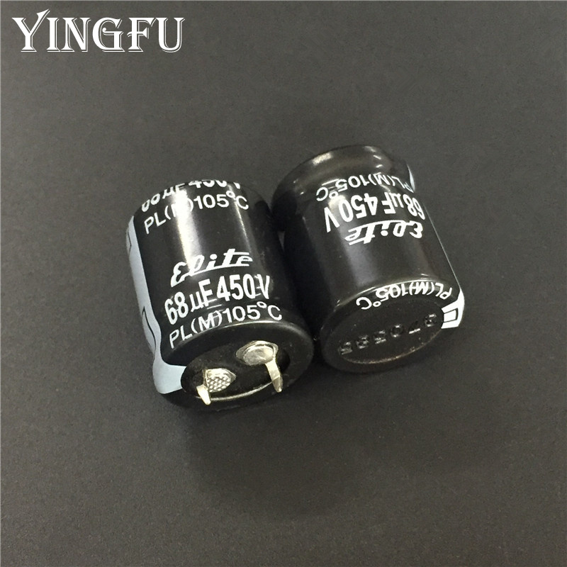 2pcs/Lot 68uF 450V Elite PL Series 22x25mm 450V68uF Snap-in PSU Aluminum Electrolytic capacitor Good Quality
