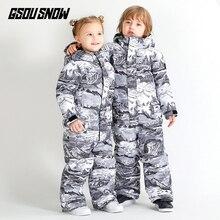 SMN/детский цельный лыжный костюм зимний теплый детский лыжный костюм Kawaii водонепроницаемый ветрозащитный Детский костюм для сноуборда с принтом