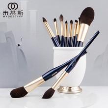цена на 11 Pcs Fashion High Quality Series Makeup Brush Set Blush Powder Eye Shadow Eyebrow Lip Brush Eye Patch Professional Makeup Tool