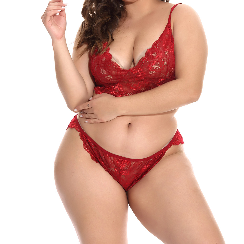 Plus Size Classic Red Women's Bra Set Sexy Wire Less Underwear Lace Adjusted Strapp Brassiere Underpants Panties L To XXXXL