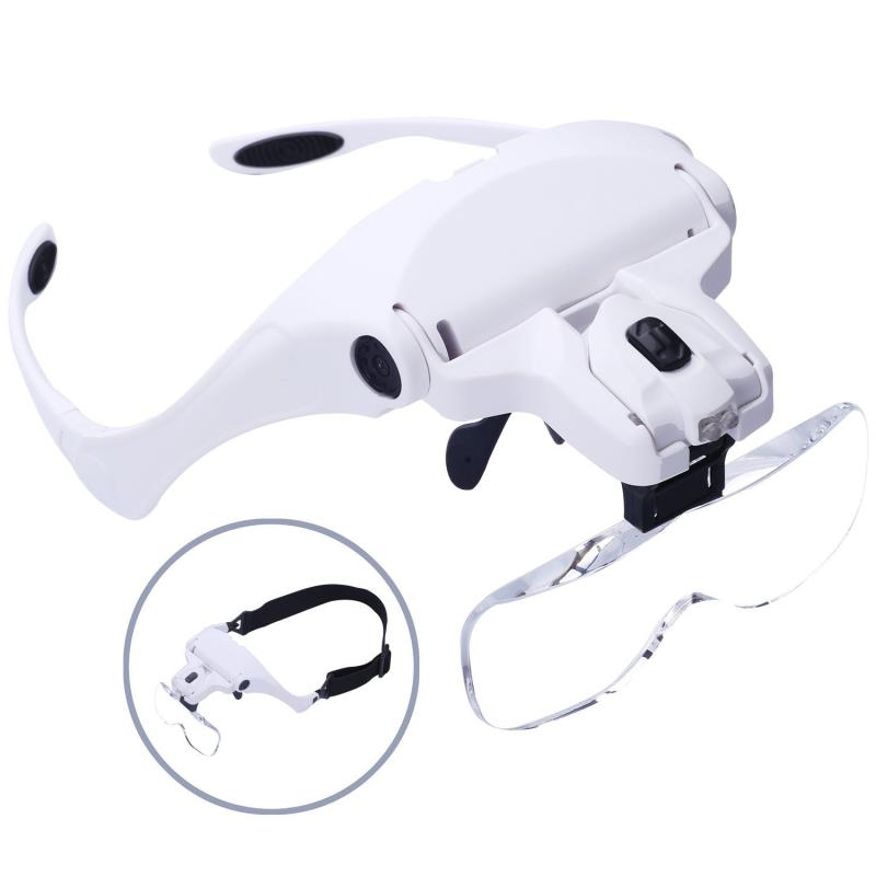 1pcs 1.0X 1.5X 2.0X 2.5X 3.5X Adjustable 5 Lens Loupe LED Light Headband Magnifier Glass Eye Glasses Optical Glass Tool
