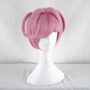 Image 4 - Doki Doki Literature Club Natsuki różowy krótki kostium kobiety żaroodporne syntetyczne włosy Party Cosplay peruki + darmowa peruka Cap
