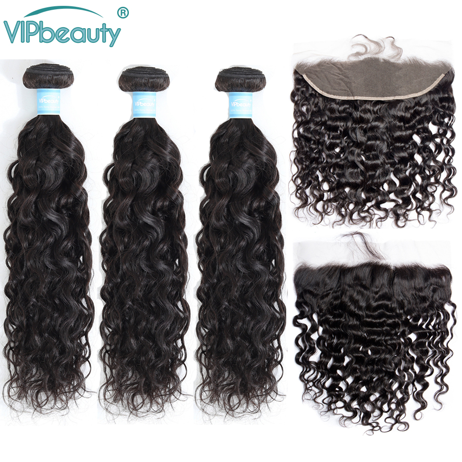 VIPbeauty Indian Water Wave 3 Bundles With 13x4 Lace Frontal Closure 100% Human Hair Weave With Closure Remy Hair Extension
