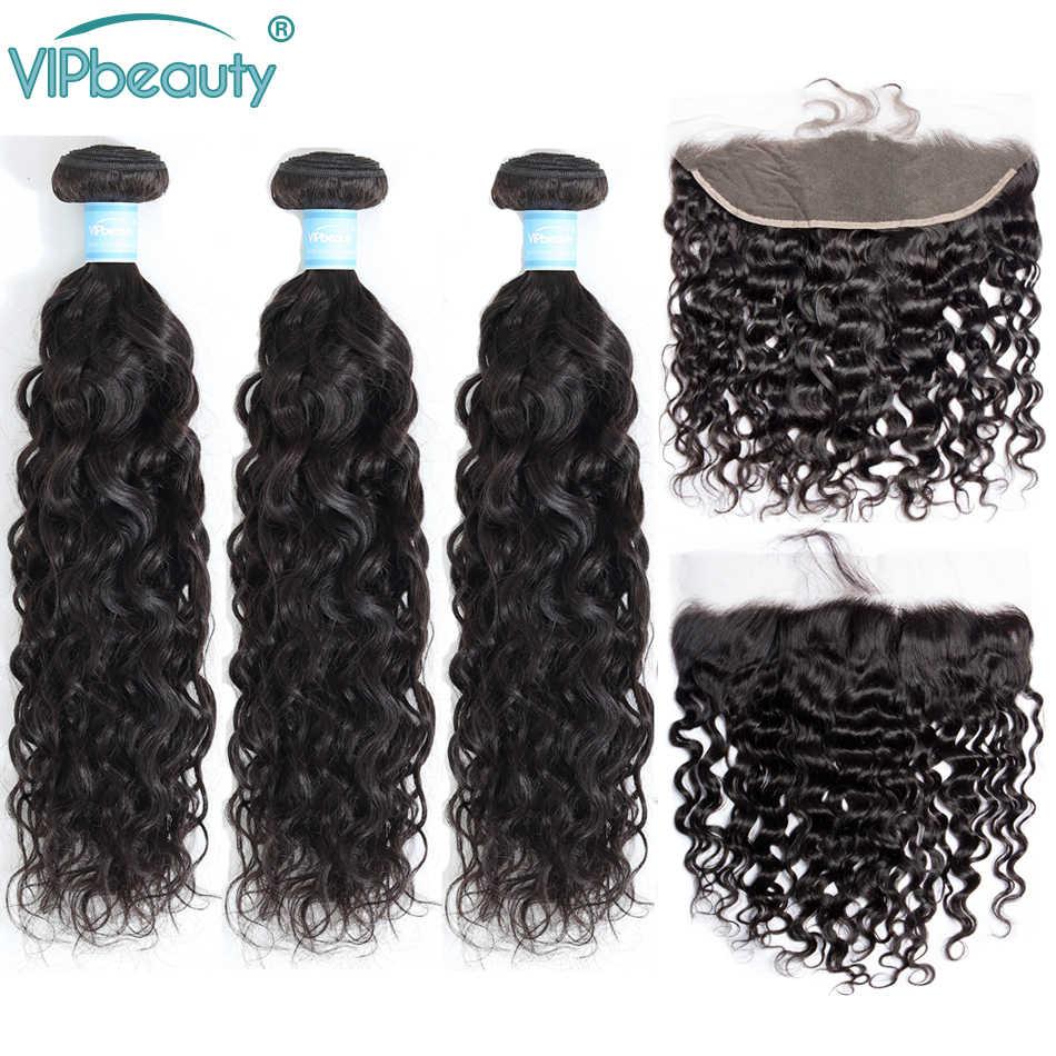 VIPbeauty Indian Water Wave 3 zestawy z 13x4 koronki Frontal zamknięcie 100% ludzki włos wyplata z zamknięciem Remy do przedłużania włosów