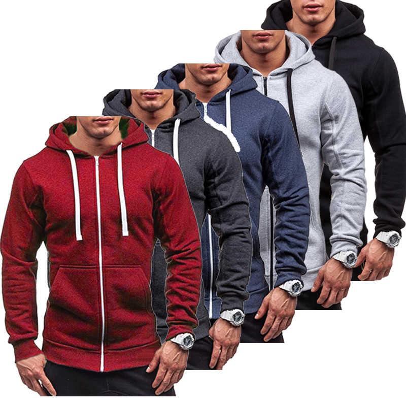 Moda Streetwear di Colore Solido degli uomini Zip Up Con Cappuccio Classico di Inverno Felpa Con Cappuccio del Cappotto Top Nuovo Plu Formato L-3XL