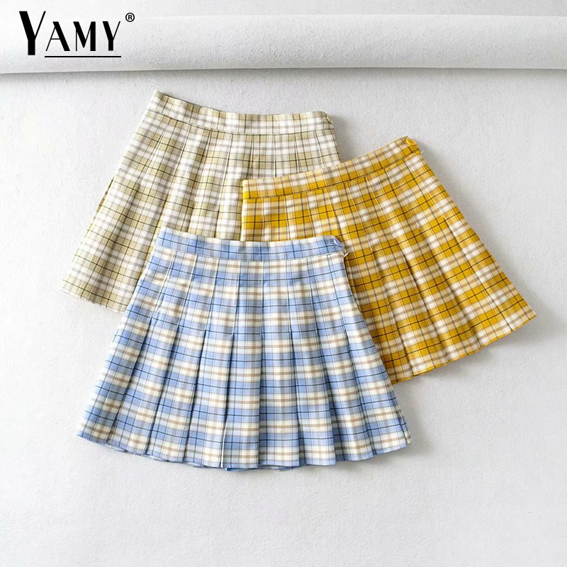 Summer high waisted skirt mini vintage woman skirts elegant pleated plaid skirts womens 2020 kawaii skirts korean|Юбки|   | АлиЭкспресс